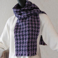 Purple Wool Scarf with star pattern
